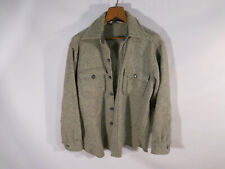 VTG Mens M L Woolrich Wool Jacket CPO Hunting Shirt Gray Striped Tweed Made USA
