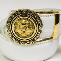 Fashion Leather Automatic Buckle Slide Gold Metal Lion Head Dress Belt White NEW