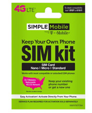 SIMPLE MOBILE SIM  CARD  >  Genuine DEALER  STOCK > FITS ALL SIZES