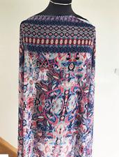 Mardi Gras Mosaic Geometric Swirl Print Washed Chiffon Dressmaking Fabric