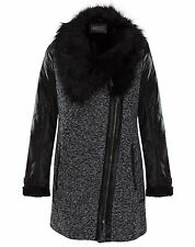 Womens Faux Leather Quilted ZIPPED Black Fur Collar Coat Jacket Black 10