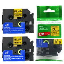 2/Pack 12mm Black on Yellow Tape for P-touch Model PT1090, PT-1090 Label Maker
