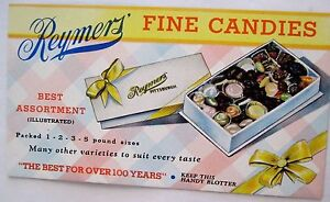 """Yummy Advertising Blotter for """"Reymers Fine Candies"""" w/ Pink & Blue Checker *"""