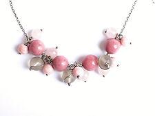 Sterling silver 925 pink gemstone bead necklace Rhodonite Rose Quartz