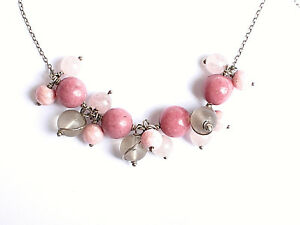 Sterling silver 925 pink gemstone bead necklace Rhodonite Rose Quartz 18 inches