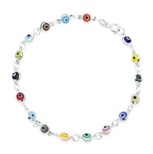 """925 Glass Multi Color Evil Eye Bracelet 7.25"""""""