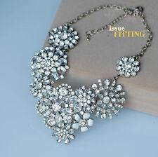 Collana Grande Dorato Floreale Smalto Bianco Cristallo Brillante Perla