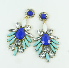 Women's Fashion Blue and Turquoise Rhinestone Stud Drop Dangle Earrings