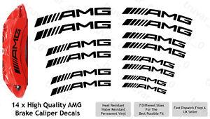 14 x AMG Brake Caliper Decal Permanent Vinyl Stickers. Curved Design - Black