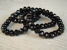 Czech Glass Beads BLACK with picaso finish 7x5mm Rondelle 100 beads