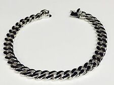 "14k Solid White Gold Handmade Link Men's Bracelet 7.5 MM 10"" 40 grams"
