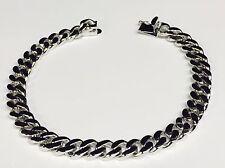 """10k Solid White Gold HEAVY Handmade Link Men's Bracelet 7.5 MM 9.5"""" 34 grams"""