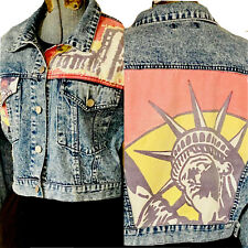 Trucker Jacket Women's Med/Lg Jean Denim Cropped State of Liberty Par'a-chute Co