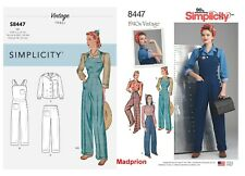 SIMPLICITY SEWING PATTERN 8447 MISSES SZ 6-14 RETRO VINTAGE '40s OVERALLS, PANTS