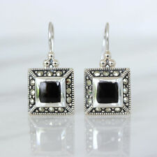 Sterling Silver 925 Marcasite & Black Onyx Square Shape Leverback Drop Earrings