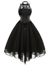 Victorian Cross Back Lace Gothic Womens Lace Dress Steampunk Halter Corset Dress