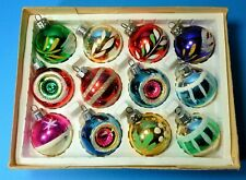 CHRISTMAS GLASS BAUBLES ORNAMENT TREE 1970's BRIGHT GLITTER CONCAVE VINTAGE CB28