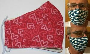 Tubie Luxe face mask with filter pocket (no filter included) pink hearts on red