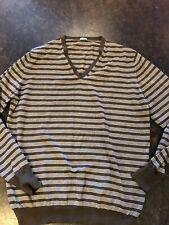 Malo Brown Striped Cashmere V Neck 44/54 XXL