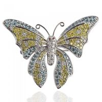 Butterfly Pin Brooch 2.80 Carat Colored Natural Diamond  14k White Gold Lady's