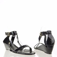 Delman Caryn Women's Black Strappy Patent Leather Sandal Wedges Sz 10 M NEW $378