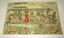 Old c.1900 Antique - French Game PRINT - AIRPLANE Aeroplane - Humerous / Cartoon