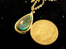bling sterling silver abalone paua shell tear drop charm chain necklace hip hop