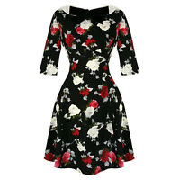 Hell Bunny Selma Red White Rose Print 1960s Retro Vintage Mini Party Work Dress