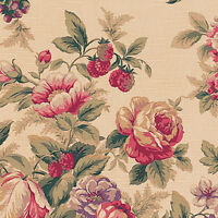 COTTON SLUB WEAVE UPHOLSTERY CURTAIN FABRIC VINTAGE CHIC FLORAL ROSE OLIVE 44'W