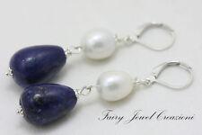 ORECCHINI LAPISLAZULI GOCCE LAPIS PERLE ARGENTONE Earrings Natural Lapis Pearls