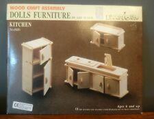 Vtg Retro Wood Craft Assembly Dolls Furniture Kitchen No. 826 1993 Educational