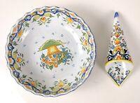 Antique/ Vintage Decor Rouen French Faience Hand Painted Bowl and Cornucopia