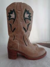 FRYE 100% nubuck leather western cowboy boots women's size 9 1/2 B tooled