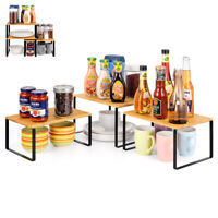 Kitchen Cabinet Counter Shelf Storage Spice Rack Expand Stackable Organizer New