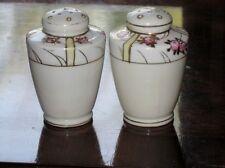 Antique Nippon Handpainted Pink Rosebuds w/Gilt Trim Salt & Pepper Shakers 1920s