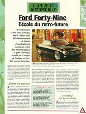 Ford Forty-Nine Concept Car Auto FICHE FRANCE