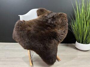 Soft Real Brown Sheepskin Rug Pelt Genuine Sheepskin Seat Cover Throw Hide