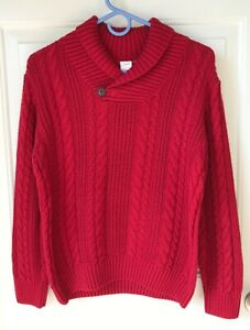 EUC Boys Gymboree Red Shawl Collar Cable Button Pullover Sweater, Size L (10-12)