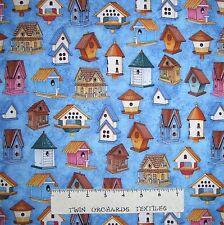 "Spring Symphony Fabric - Birdhouse Allover Light Blue - RJR Dan Morris 29"""