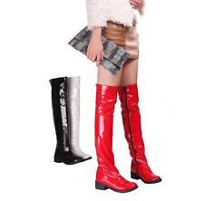 Spitz Damen Stiefel Overkniestiefel Lackleder Mittelhoch Absatz reißverschluß