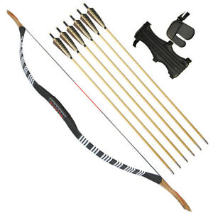 25-55lbs Traditional Recurve Bow Set Longbow + 6pcs Wood Arrows Archery Hunting