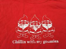 Chillin With My Gnomies Homies Funny Gnome Joke Distressed Christmas T Shirt M