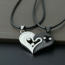 Lot 2PCS Superb Lover Couple Necklace I Love You Heart Pendant Black Blue Set