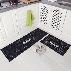 Non Slip Kitchen Bath Mat Rubber Backing Doormat Runner Rug Set 2pc Floor Mats