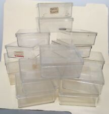 Lot of 18 clear plastic sorting boxes with lids for jewelry, beads, findings