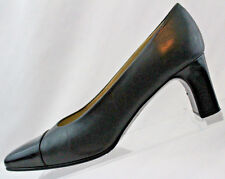 Etienne Aigner Sz 6.5 M Black Leather w/ Patent Toe Block Heels Career Pump #5@5