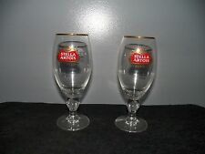 2 NEW STELLA ARTOIS BELGIUM BEER GLASSES GOLD RIMMED CHALICES 40 CL