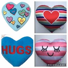 NWT Heart Shaped Pillow Sleepy Head or Rainbow Stripe or Blue Hugs Candy Hearts
