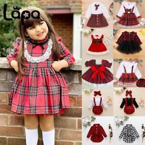 Lapa Baby Girls Christmas Princess Dresses Plaid Xmas Party Costume Fancy Dress