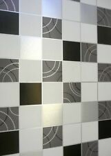 Vinyl Washable Kitchen Bathroom Tile Dotty Wallpaper Black White Silver